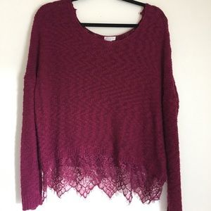Fuschia Cropped Sweater with Lace Trim